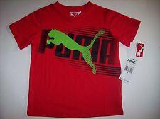 PUMA Shirt Boys V-Neck Short-Sleeve Sz 4 Sport Logo Red  NWT