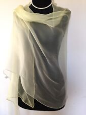 """100% Pure Silk Ladies Ivory/Pale Yellow Long Scarf 26""""/65""""Brand New"""