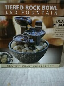 New Tiered Rock Bowl LED Indoor Fountain Tabletop -Newport Coast Collection