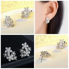 Women Flower Silver Plated Zircon Earrings Crystal Rhinestones Ear Stud Jewelry