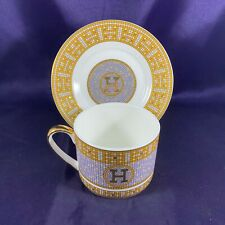 Hermes MOSAIQUE Au 24 (GOLD BAND , SILVER MOSAIC, SMOOTH) Cup & Saucer 2 1/2""