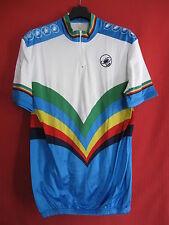 Maglia da ciclismo vintage Castelli colore campione del mondo 80'S - L