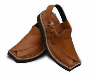 Men's Handmade Genuine Leather Pehawari/Kaptaan Chappal Double Stitched Sandals