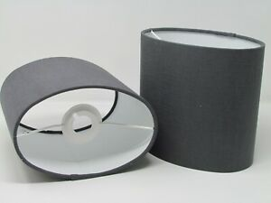 Lampshade Oval Charcoal Grey Textured 100% Linen Drum Light Shade
