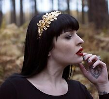 Gold Leaf Headdress Grecian Headband Headpiece Bridal Crown Laurel Vintage T45