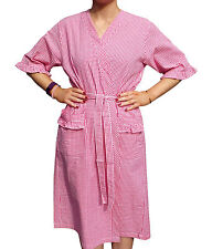 Vermont Country Store Short-Sleeve Wrap Robe Gingham Made in USA 100% Cotton NEW