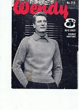 Circa 50s-60s Wendy Tejer patrón para hombre Suéter Con Mangas Cuello Y Cable