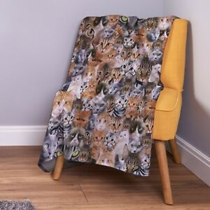 Cats All Over Design Soft Fleece Throw Blanket