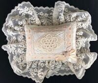 Vintage Victorian Style Lace Pillow. Beautiful Creme Lace with Light Pink Satin