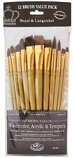 Royal Langnickel Brown Taklon Variety Brush Set -(Pack of 12) RSET-9303