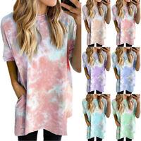 Plus Size Women Tie Dye Short Sleeve T-Shirt Dress Casual Holiday Loose Long Top