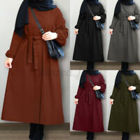Women Long Sleeve Elastic Cuffs Belted Waist Solid Abaya Dubai Kaftan Midi Dress