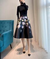 AUTH Ted Baker Floral Print Long Sleeve Knitted Full Skirt Dress, 0-5