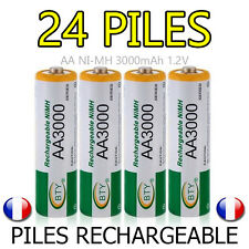 LOT 24 PILES ACCUS RECHARGEABLE AA BTY NI-MH 3000mAh 1.2V LR06 LR6 R06 R6 ACCU