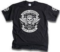 Speed Junkies New Zealand Biker Skull Wings Pistons Patch Mens T Shirt Sm -3XL
