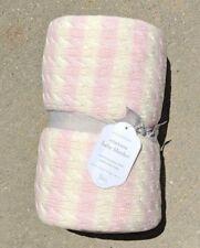 Pottery Barn Kids ~ Emerson Baby Blanket ~ Sherpa ~ Pink / White ~ Stripe