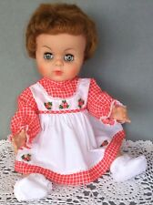 "VINTAGE Red Checks DOLL DRESS fits 16-18"" Babydolls, Old Store Stock 1960's"