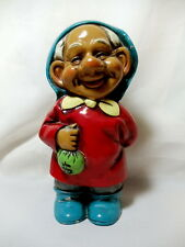 """Vintage Chalkware Gnome Coin Bank 9"""" Made in Japan Happy Smurf Elf Gnome Lucky"""