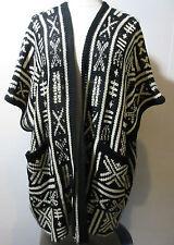 Sweater Fits 1X 2X 3X Plus Cardigan Vest Aztec Print Black Gray Dolman NWT 788