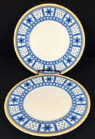 """Villeroy & Boch Set Of 2 Twist Anna Dinner Plates 10.75"""" Blue And Yellow Germany"""