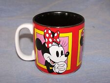 Porcelain/Ceramic Mug ~3 Faces of Minnie Mouse ~ Disney ~ Black-Red-White-Yellow