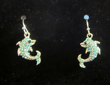 DOLPHIN Earrings New Fish Hook Style Blue Crystal Accents Silver Tone
