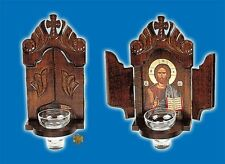 Orthodox Byzantine Icon Shrine With Glass Oil Cup For The Wall Orthodoxe Ikone