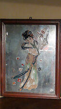 "ANTIQUE 18 C CHINESE REVERSE PAINTED GLASS ""YOUNG GIRL WITH BASKET DANCING"""