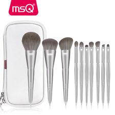 MSQ 10PCS Silver Makeup Brush Set Kabuki Powder Eyeshadow Contour Brush with Bag