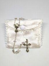 5 piece silver+enamel rosary part 3hole centrepiece Popes Francis John Paul 20mm