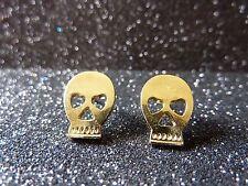 Halloween Calavera Pendientes, cráneo, color oro, regalo, clavos, joyas de moda, diversión!