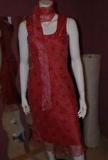 Chices Chiffon KLEID * langes Etuikleid mit Schal seidig geblümt rosa - rot S/M