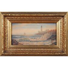 FTN030-SC074-2, Niagara Furniture, Ship and Lighthouse Scene, Oil Painting
