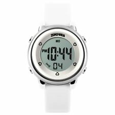 Skmei Girls White Digital Watch Water Resistant Stopwatch Alarm Ages 5+ DG1100