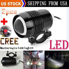 2pcs Bright 30W Motorcycle CREE U2 LED Driving Headlight Fog Spot Light + Switch