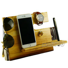 Wooden Black Docking Station with Key Holder Pen Holder Watch Wallet Organizer
