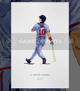 Chipper Jones Atlanta Braves Baseball Illustrated Print Poster Art