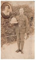 Postcard Pre WW1 3rd Kings Hussars Soldier India Wife Inset Army RPPC 10a