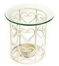 Cream Metal Oil Burner ~ Wire Heart Fragrance Oil Burner / Tealight Holder