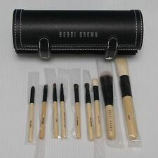 Bobbi Brown 9pcs Wooden Handle Brush set with cylindrical hard case with mirror