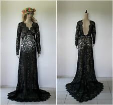 Black Lace Backless Maternity Dress Gown - Photography Photo Prop - Size 10-14