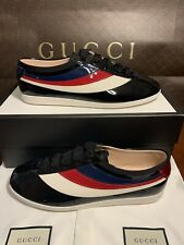 NEW Gucci Patent Leather Lace Up Sneakers Mens US Size 10.5