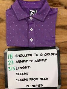 FJ FootJoy Performance Golf Polo Shirt Men's L Purple Blue Diamonds
