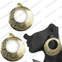 "CLIP ON BIG 3""long ORNATE DISC EARRINGS large GOLD FASHION boho HOOP clips hoops"