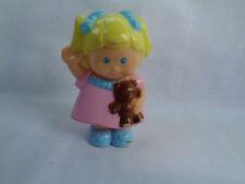 Hard Plastic Blonde Girl Figure with Teddy Bear