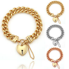 18K GOLD FILLED PADLOCK LOVE HEART SOLID CUBAN CHUNKY CURB WOMEN BANGLE BRACELET