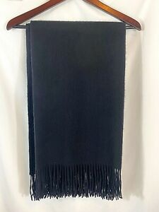 """Williams Sonoma 100% Cashmere Throw Blanket Caviar Black 50""""x65"""" NEW with defect"""
