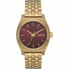 Nixon Women's Medium Time Teller A11302809-00 37mm Burgundy Dial SS Watch