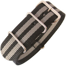 20mm Fluco German Made Black Grey Stripe Nylon MoD G10 2-Piece Watch Band Strap