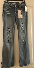 """Kohls """"Almost Famous"""" Distressed Boot Cut Insta Slim Jeans Jr. Size 5 - Nwt"""
